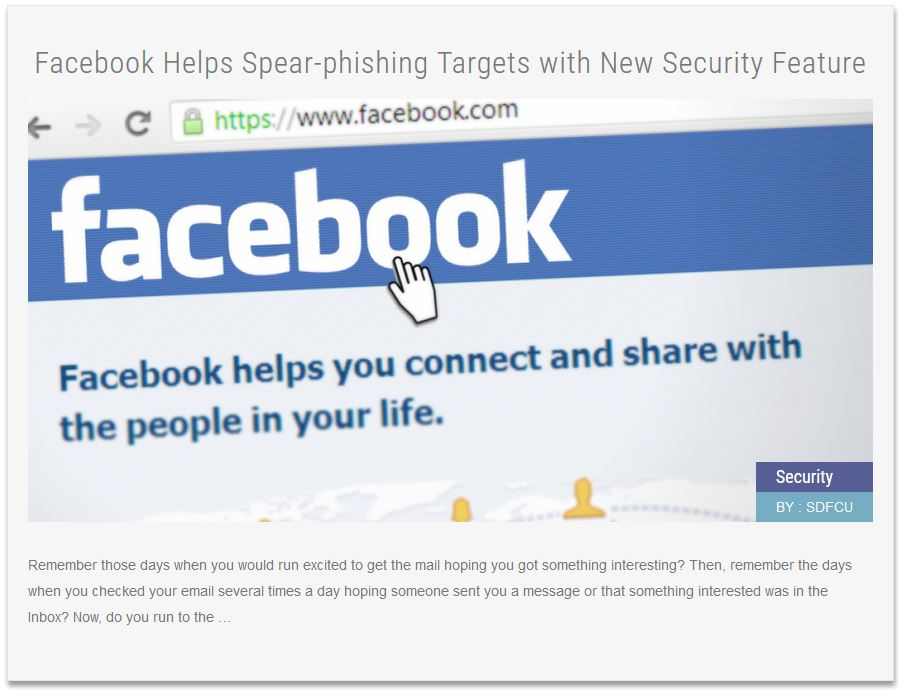 Security News Article Facebook Helps Spear-phishing Targets with New Security Feature