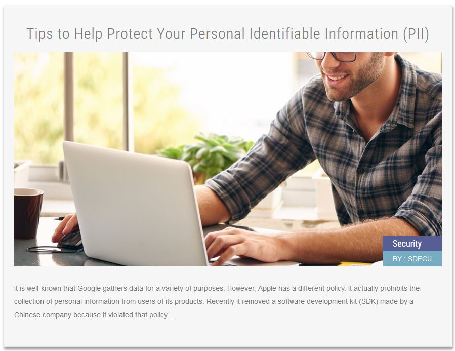 Security News ArticleTips to Help Protect Your Personal Identifiable Information (PII)