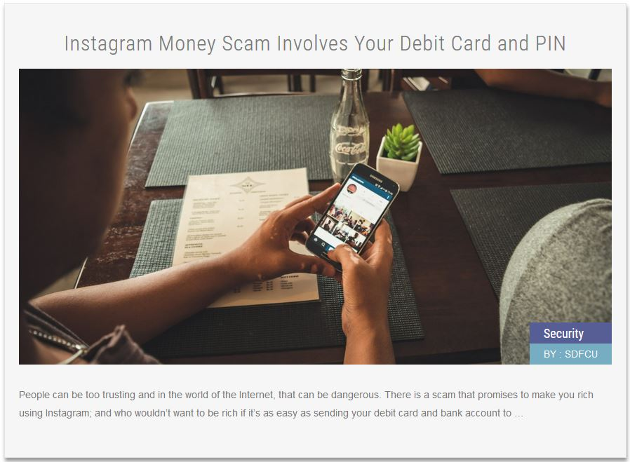Security news Article Instagram Money Scam Involves Your Debit Card and PIN